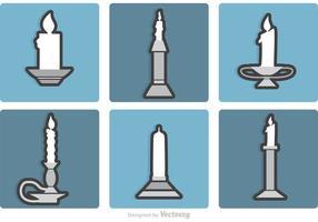 Set von Silber Kerzenständer Vektoren