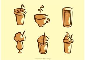 Set av kaffe dricker vektor