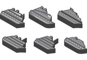 3D Cruise Liner Ikonvektorer vektor