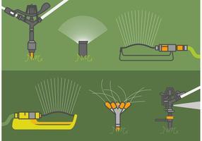Rasen-Sprinkler-Vektor-Set