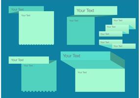 Foldad textlåda mall vektor uppsättning