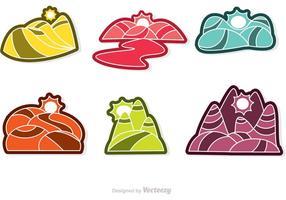 3D Rolling Hills Färgglada ikoner Vector