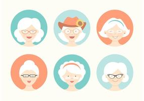 Gratis Funny Grandma Avatar Vector Set