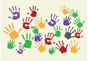 Målade Barn Handprint Vectors