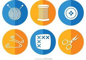 Sy och nålarbete Lång skugg ikoner vektor