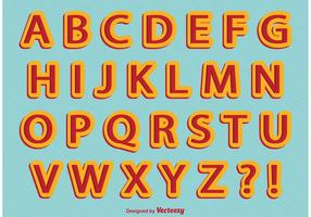 Retro Comic-Stil Alphabet vektor