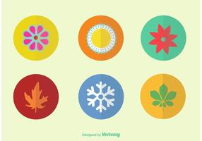 Flat Color Seasonal Vector Ikoner