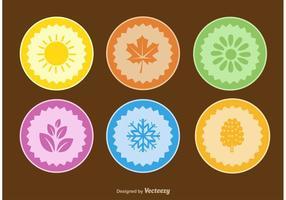 Jahreszeiten flache Vektorabzeichen