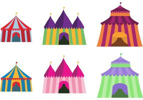 Färgglada Big Top Vector Set