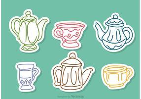 Färgglada Tea Set Outline Vectors