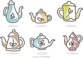 Sammlung von Tee Topf Vektoren