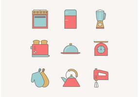 Gratis Flat Outline Vintage Kitchen Utensils Vector Ikoner