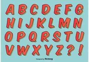 Komisk stil alfabetet vektor