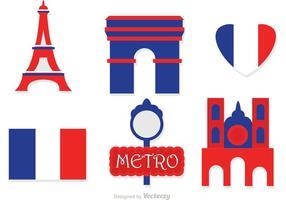 Paris platt ikoner vektor