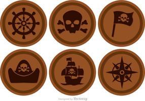 Brun cirkel pirat ikoner vektor