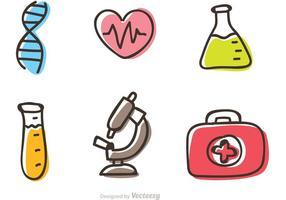 Medicinsk tecknad ikoner vektor