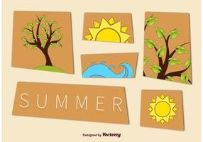 Sommar Tree och Beach Graphics vektor
