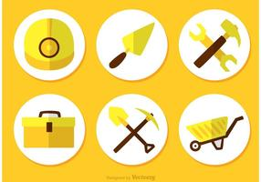 Bau Werkzeuge Flach Icons Vektor