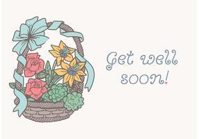 Free Quirky Drawn Korb Mit Blumen Vektor