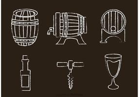 Kreide Drawn Whisky Vektor Icons