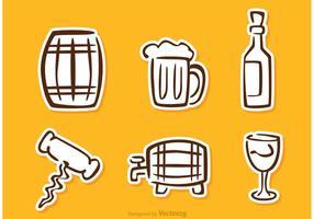 Whisky Klistermärke Ikoner Vektor