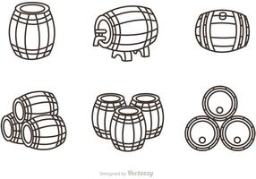 Whisky Fass Umriss Icons Vektor