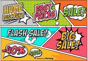Retro komisk stil försäljning och rabatt tecken vektorer
