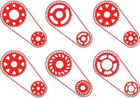 Röda cykel kedjehjul vektorer