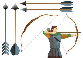 Aim Compound Bogen und Bogenschütze Vektoren