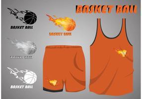 Basketball auf Feuer Sport Jersey Vektoren
