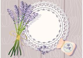 Doily mit Lavendel Hintergrund Vektor