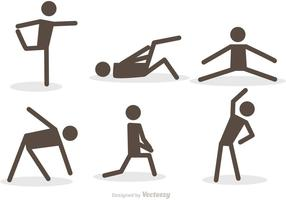 Workout Stick Figur Ikoner Vector Pack
