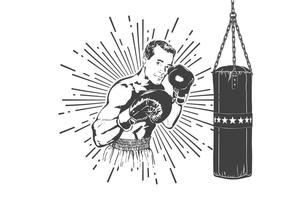 Gratis Old Time Boxer Vector Illustration
