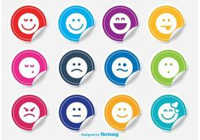 Emoticon klistermärke vektor uppsättning