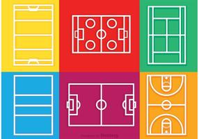 Sport Courts Umriss Icons Vektor