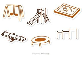 Outline playground ikon vektor pack