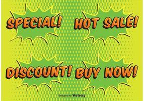 Comic Style Sale Etiketter vektor