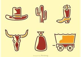 Vild väst ikoner vektor