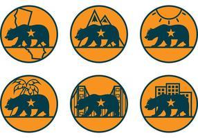 Kalifornien Bär Vektor Icons