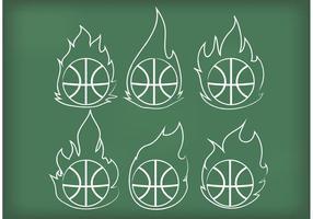 Outline Basketball auf Feuer Vektoren