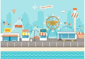 Kostenlose Coney Island Cityscape Vektor