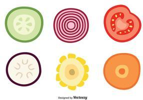 Skiva Vegetabiliska Vector Ikoner