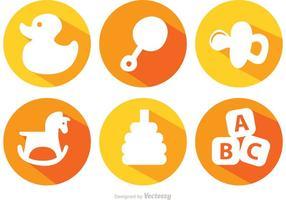 Lange Schatten Baby Spielzeug Vektor Icons