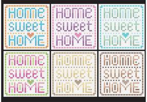 Home Sweet Home Cross Stitch Vectors