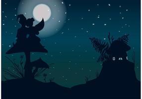 Vacker natt med gnomesvektor vektor