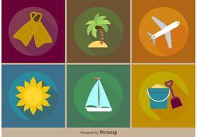 Vektor Strand Urlaub Flach Icons