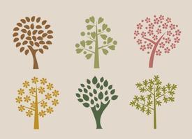 Organiska Träd Vector Silhouettes