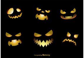 Spooky Jack-o-Lantern Vector Faces