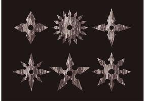 Grungy Ninja Wurf Stern Icon Vektoren