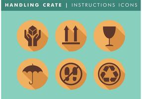 Handhabung Crate Instructions Icons Vector Free